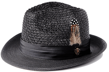Mens Summer Hat Black Straw Fedora BC500 Size S,M,L