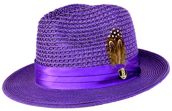 94acd475a14e1b Mens Summer Hat Purple Straw Fedora BC508