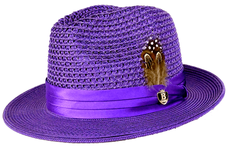 Mens Summer Hat Purple Straw Fedora BC508