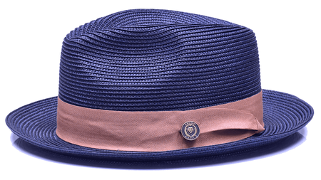 Mens Navy Camel Summer Fedora Hat FN-834
