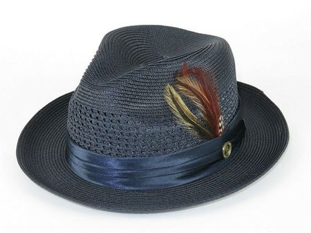 Mens Summer Hat Navy Blue Straw Fedora DO833