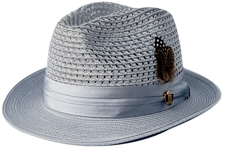 Mens Summer Hat Silver Grey Straw Fedora BC511 Size S