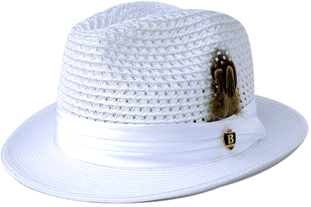 Mens Summer Hat White Straw Fedora BC501 Size S, M