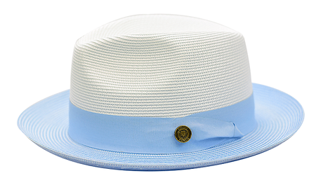 Summer Fedora Hat for Men White Light Blue Straw SA-804 Size M