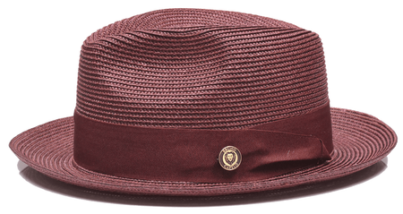 Mens Burgundy Summer Fedora Hat Bruno Capelo FN831 Size S,XL