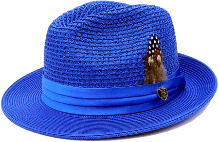 Mens Summer Hat Royal Blue Straw Fedora BC506