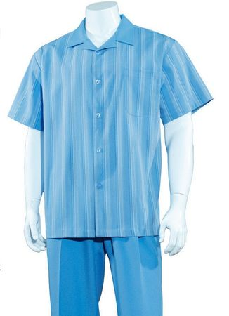 Mens Summer Leisure Shirt and Pants Suit Blue Stripe Fortino M2966