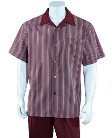 Mens Summer Leisure Shirt and Pants Suit Burgundy Stripe Fortino M2966