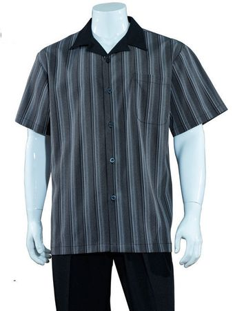 Mens Summer Leisure Shirt and Pants Suit Grey Stripe Fortino M2966 - click to enlarge