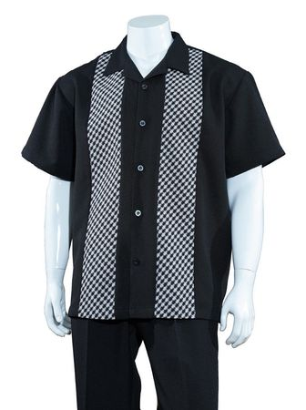 Mens Summer Shirt and Pants Set Black Plaid Front Fortino M2968 - click to enlarge