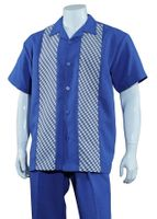 Mens Summer Shirt and Pants Set Blue Panel Front Fortino M2968