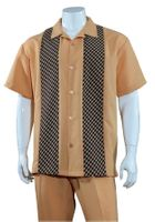 Mens Summer Shirt and Pants Set Rust Panel Front Fortino M2968