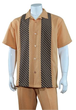 Mens Summer Shirt and Pants Set Rust Panel Front Fortino M2968 - click to enlarge