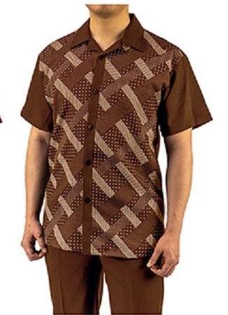 Don Jonathan Brown Short Sleeve Walking Suit Fancy Pattern WS834 - click to enlarge