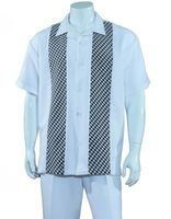 Mens Summer Shirt and Pants Set White Panel Front Fortino M2968