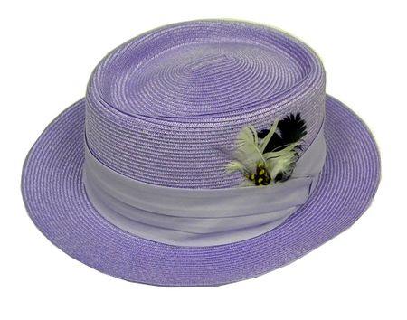 Mens Summer Straw Dress Hats Lavender PC300