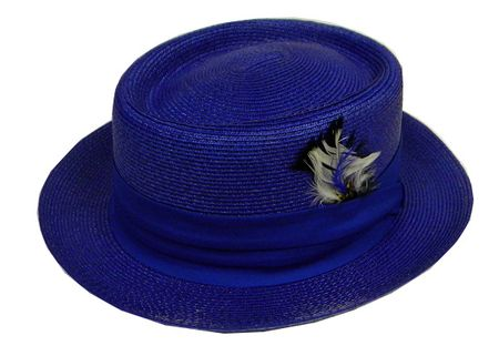 Mens Summer Straw Fashion Hats Royal Blue PC300 Size L