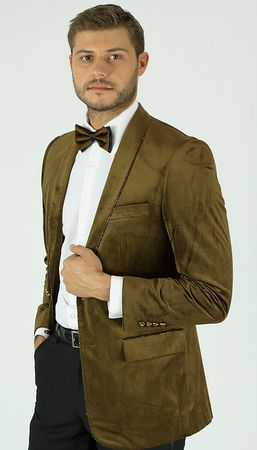 Mens Light Brown Velvet Tuxedo Dinner Jacket Blazer KNY MZST - click to enlarge