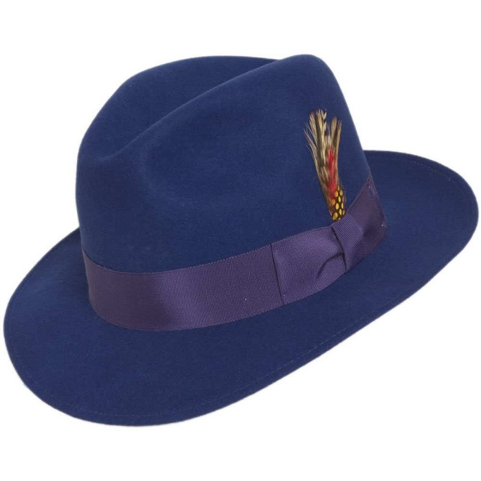 566db71f0ca Mens Royal Blue Fedora Hat Wool Felt Untouchable