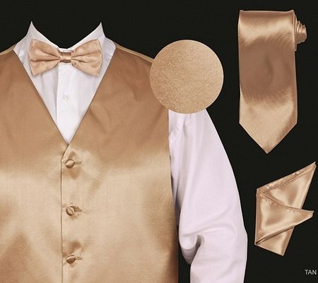 Mens Tan Tuxedo Vest Tie Set Shiny Silky Satin VS801