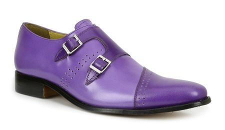 Mens Two Buckle Leather Shoes Purple Giorgio Brutini 200137-2 - click to enlarge
