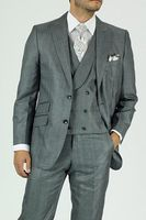Mens Urban Fashion Suit Gray Round Collar Vest KNY NS2PV-0177