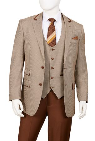 Mens Brown Houndstooth 3 Piece Fashion Suit Vittorio F62HV - click to enlarge