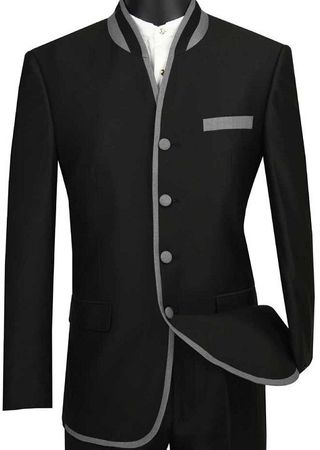 Vinci Mens Black Mandarin Collar Suit Slim Fit S4HT-1