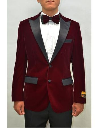Mens Burgundy Velvet Tuxedo Jacket Alberto Nardoni Velvet-Tux101 - click to enlarge