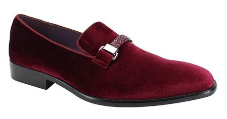 Mens Velvet Burgundy Wine Designer Slip On Party Loafers AM 6753 Size 9.5