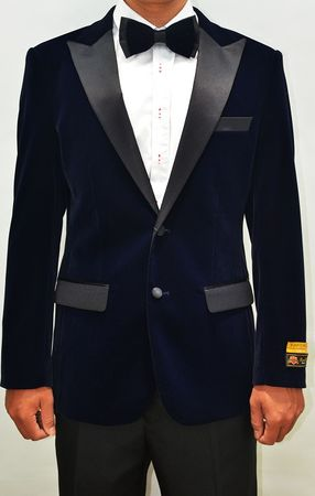 Mens Navy Velvet Tuxedo Jacket Alberto Nardoni Velvet-Tux101 - click to enlarge