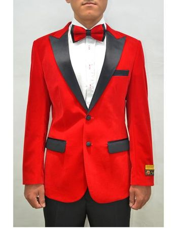 Mens Red Velvet Tuxedo Jacket Alberto Nardoni Velvet-Tux101 - click to enlarge