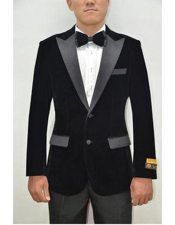 Mens Black Velvet Tuxedo Jacket Alberto Nardoni Velvet-Tux101 - click to enlarge