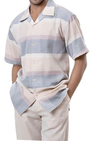 Montique Men's Pastel Beige Stripe Short Sleeve Walking Suit 675 - click to enlarge