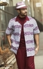 Montique Mens Short Sleeve Dressy Outfit Walking Suit Burgundy 1742