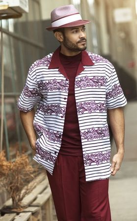Montique Mens Short Sleeve Dressy Outfit Walking Suit Burgundy 1742 - click to enlarge