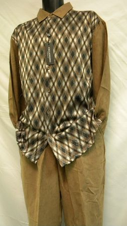 Cellangino Mens Walking Suits Brown Diamond Knit Front MS1303 - click to enlarge