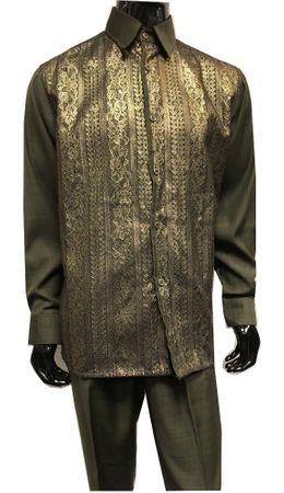 Mens Olive Dress Outfit Gold Lace Front Pattern Pronti SP6433