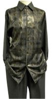 Mens Dress Outfits Pronti Gray Heather Foil Pattern SP6208