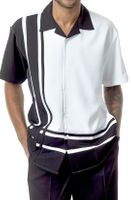 Mens Walking Suits by Montique Black White Short Sleeve 1877