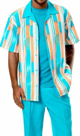 Mens Leisure Outfits by Montique Turquoise Pattern 1736 Size M