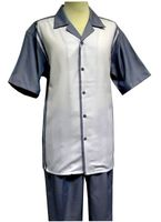 Mens Leisure Outfit Blue Sharkskin Short Sleeve Panel Front  LX14
