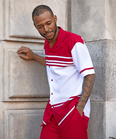 Mens Walking Suits by Montique Red White Short Sleeve 1878 - click to enlarge