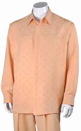 Fortino Mens Peach Diamond Pattern Two Piece Walking Suit 2762 - click to enlarge