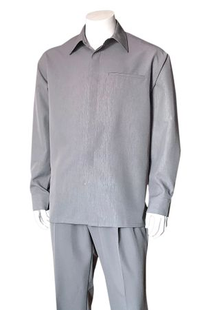 Men's Gray Long Sleeve Walking Suit Fine Line Fortino 2764