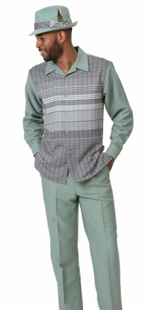 Montique Walking Suit Men's Sage Green Long Sleeve Set 2006