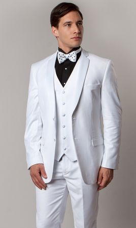 Wedding Suits for Men White 3 Piece Tuxedo MT400