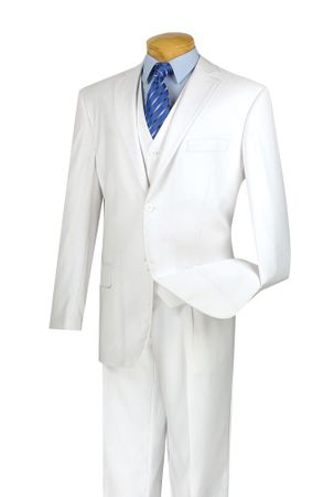 Mens White 2 Button 3 Piece Suit Vinci V2TR