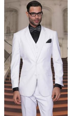 Mens White 2 Button 3 Piece Suit Classic Fit Regular Vinci V2TR