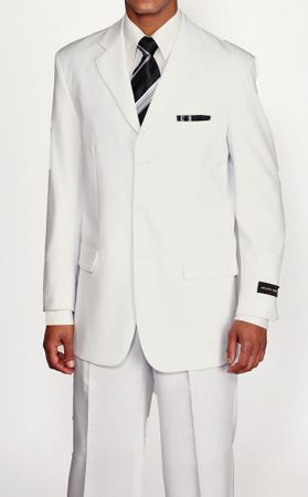 Mens White 3 Button 2 Pc. Suit Back Vents Pleated Pants Milano 5802M - click to enlarge